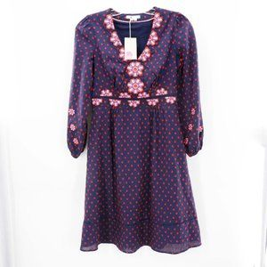 COPY - Boden Navy Floral Flossie Embroidered Midi…